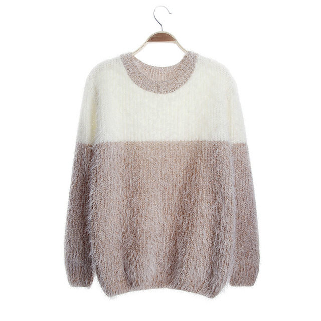 Trendy Knitted Sweater Women Warm Jersey Pullover Patchwork