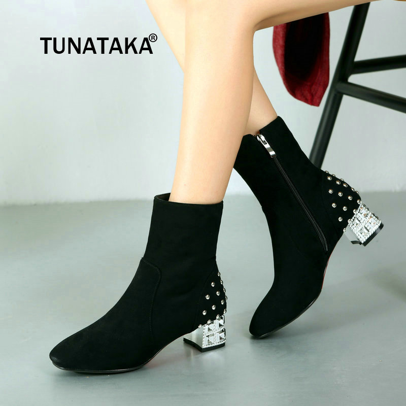 Winter Flock Side Zipper Comfortable Low Heel Ankle Boots Fashion Rivet Square Toe Women Shoes Red