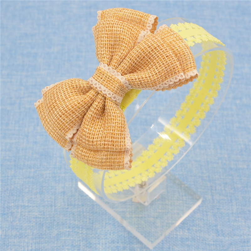 Hot Sale Handmade flax Bow Lace Headband headwear Fashion Lace Hairband With Hair Bow Kids Boutique Hair Accessories