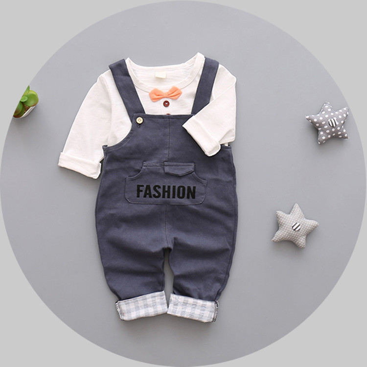 Children autumn winter baby boys clothes set new 2016 cotton t shirt+strap pant 2pcs baby clothing suit casual newborn boy sets 2pcs children outfit clothes kids baby girl off shoulder cotton ruffled sleeve tops striped t shirt blue denim jeans sunsuit set