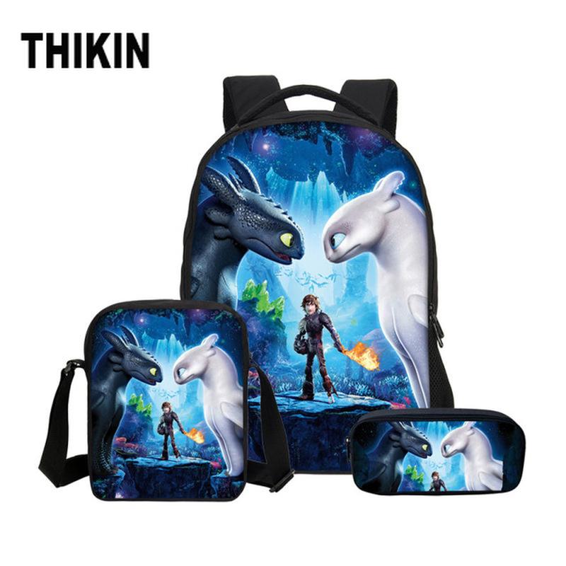 THIKIN How To Train Your Dragon Anime Print Custom Schoolbag Set Backpack Large Boy Girl Mochila Infant Satchel Children Bookbag