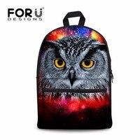 FORUDESIGNS Multicolor Dziewczyny Galaxy Gwiazda Plecak Fajne Drukowanie Sowa Klasy Junior Bagpack dla Dzieci Student Bookbag Płótno Tkaniny