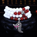 Pure Natural White Agate Stone Beaded Multilayer Stretch Bracelet Tissu Silver Fox Temperament Elegant Bracelets For Women