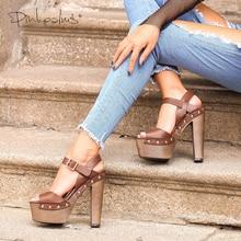 ピンク手のひら靴サンダルウェッジシューズ女性のためのハイヒールピープトウアンクルストラッププラットフォームリベット zapatos mujer