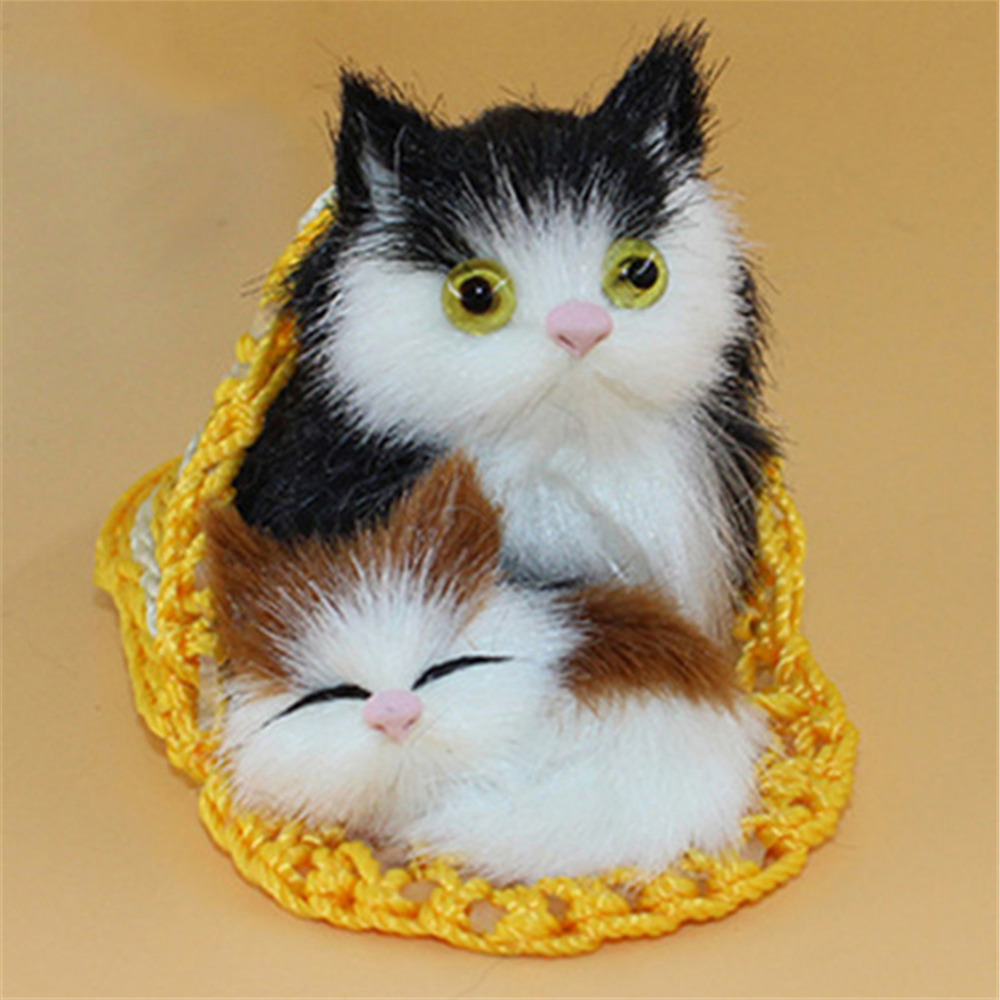 Real Life Plush Cute Simulation Animal Mother Cat And Kitten Plush Dolls Soft Cats Toys With A Frame Kids Toys Decorations Birthday Gift Moderate Price