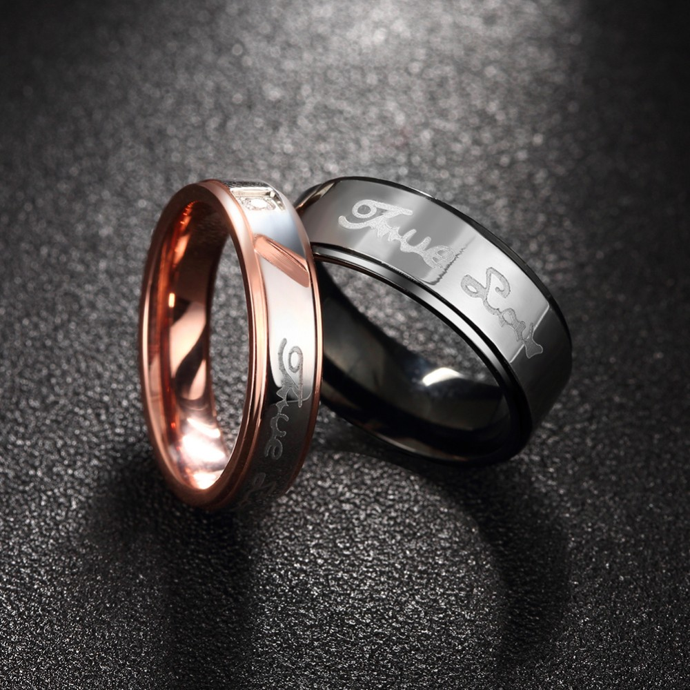 Zircons Stone Love Ring Engraved Of Black Gold Female Men Wedding Bands  Pair Of Jewelry Rings