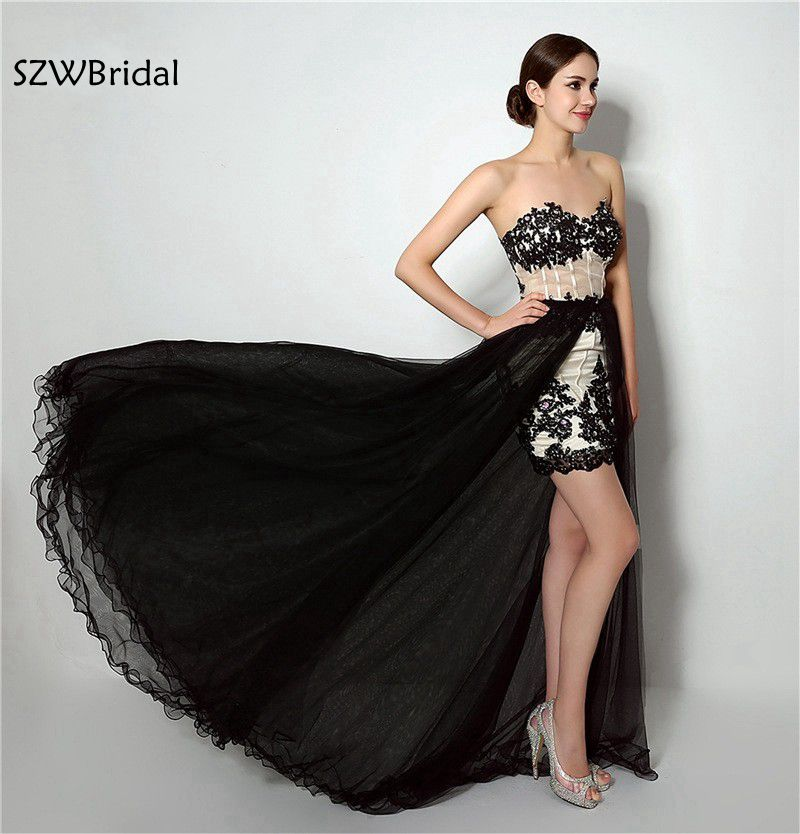 New Arrival Black Prom dresses High/Low Lace Beaded Vestido de festa Sexy Short Prom dress Plus size vestidos de festa