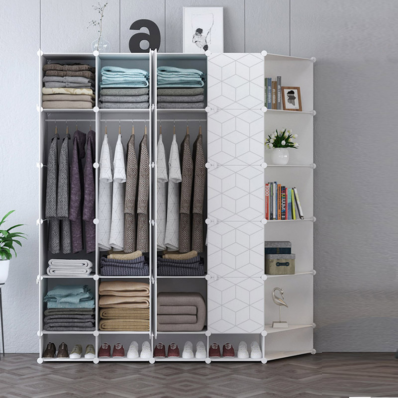 US $42.0 |Geometric Modern Bedroom Wardrobe Skirt Dress Pant Clothing  Storage Cabinet Shoe Racks Corridor Entryway Locker Home Furniture-in  Wardrobes ...