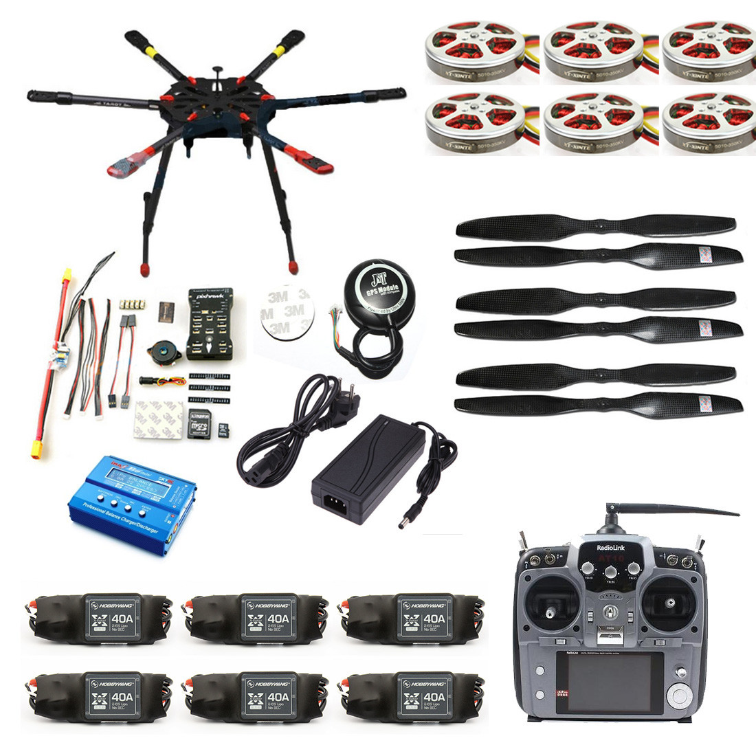 JMT Pro 2.4G 10CH 960mm RC Hexacopter Drone Tarot X6 Folding Retractable PIX PX4 M8N GPS ARF/PNF DIY Unassembly Kit F11283-A/B