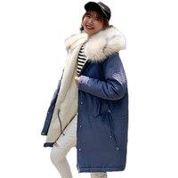 Hot sale 2019 High Quality Ladies Coat Long Park long style new winter jacket 2019 loose jacket big wool collar jacket 6909