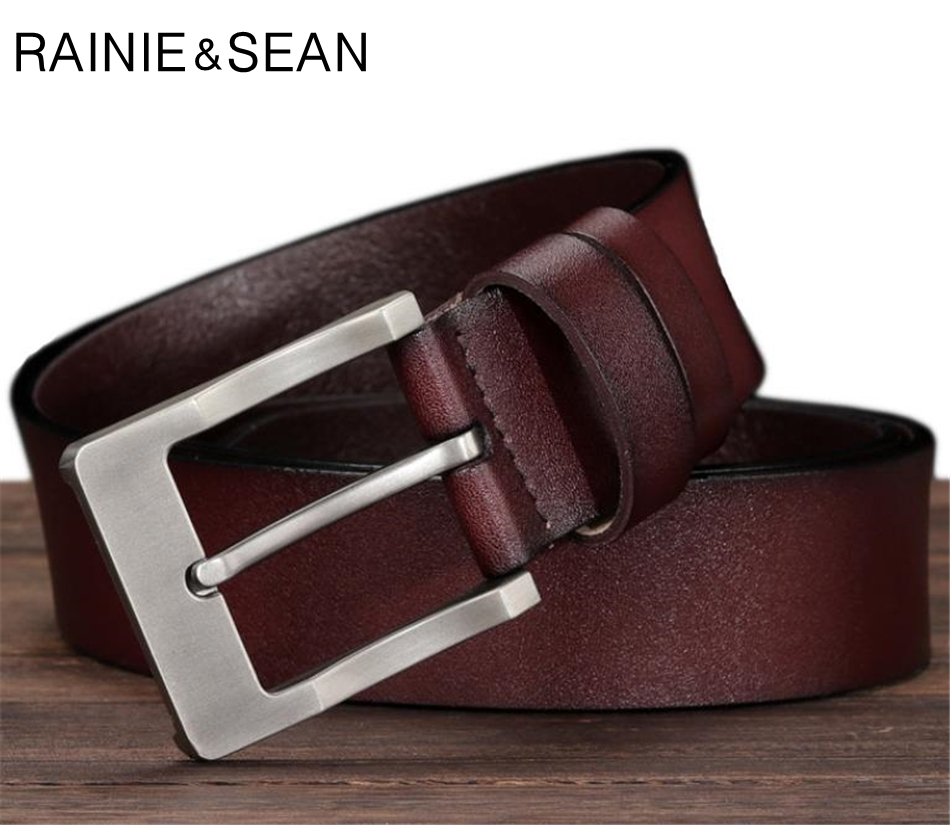 RAINIE SEAN Pin Buckle Belt For Trousers Man Waist Belt Leather Brown Black Casual Genuine Leather Jeans Belts For Men 125cm in Men 39 s Belts from Apparel Accessories