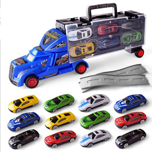 1:18 Mini Toys Cars Model Alloy Plastic Diecasts Engineering Car Model Display Stand Gift For Kids YH1182-1