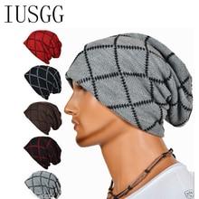 Grid Plaid Pleated Winter Hats Men Hat Ski Beanies Skullies For older men Knit Bonnet Caps Beanie Sport