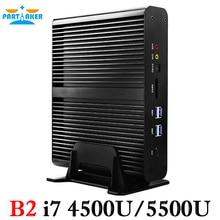 Partaker B2 Windows Mini pc i7 Barebone HTPC Fanless Computer Broadwell 5Gen Core i7 5550U with 300M Wifi i7 4200U