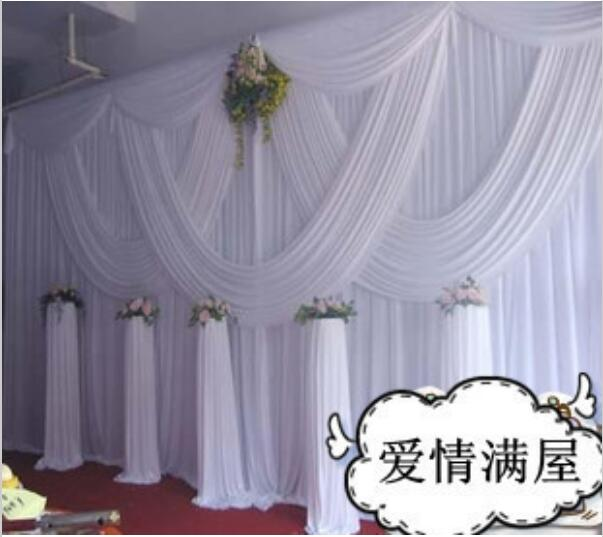 DHL Fedex free shipping White wedding backdrop curtain with swags 10ft x 20ft romantic wedding stage