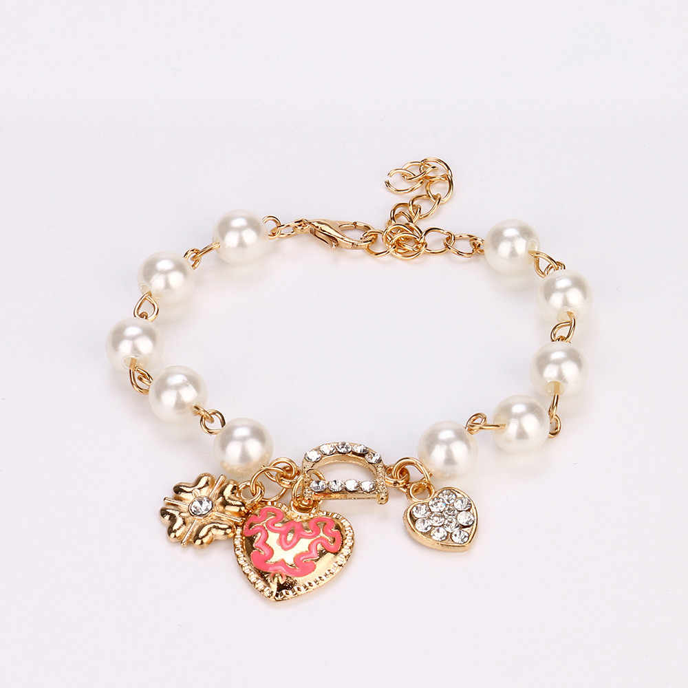 Flower Simulated Pearls Love Heart Bracelets Bangles For Women Girls Crystal Bangle Gold Color Bracelet pulseras mujer #35