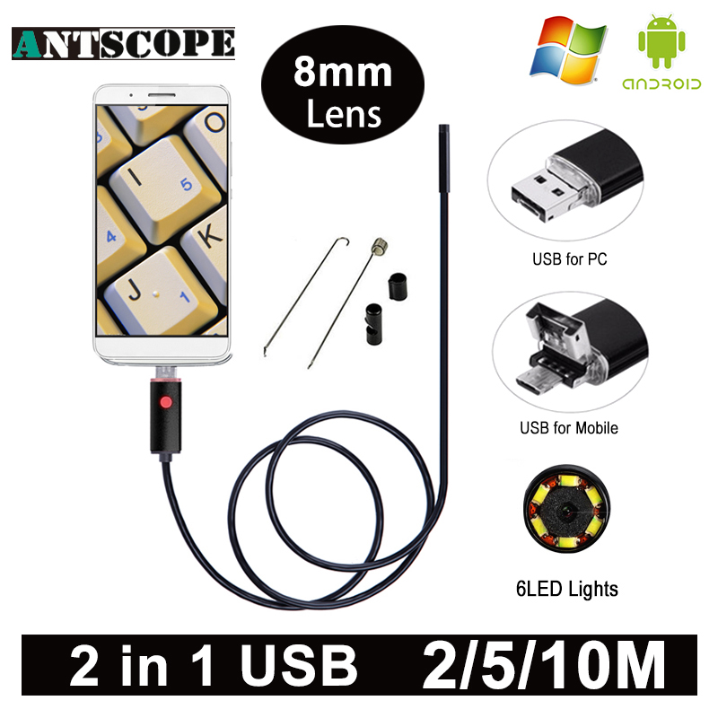 Antscope HD USB Endoscope Camera USB Android Endoscopic Camera Black 2m 5m 10m Android PC Boroscope
