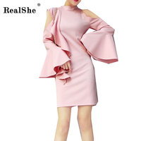 RealShe Women Ruffles Summer Dress 2018 Women O Neck Off Shoulder Flare Sleeve Mini Dress Female
