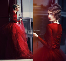 Red Ball Gown font b Evening b font Gowns Puffy See Through Skirt Train Formal font