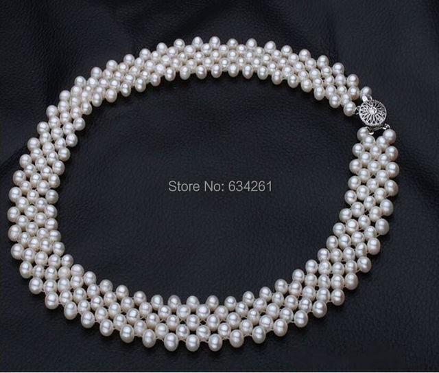 ASHIQI Real Collar de Perlas para las mujeres blanco genuino joyería de perlas de Agua Dulce Naturales de la agricultura, EL MEJOR REGALO, Envío libre