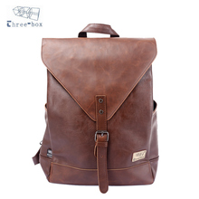 Three-Box Original Brand Men Backpacks Teenagers Solid Casual Male PU Leather School Large Laptop Bags Women Mochila 3514