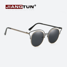 JIANGTUN New Mirror Flat Lens Women Cat Eye Sunglasses Classic Brand Designer Twin-Beams Alloy Frame Sun Glasses for Women