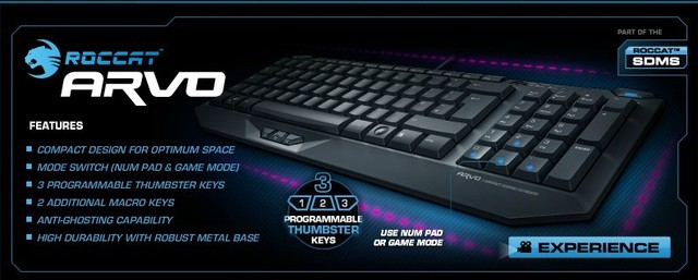 2a7433d8be7 ROCCAT Arvo Compact Gaming Keyboard,macro keys, UNIQUE THUMBSTER KEYS,  Brand New in BOX, Free shipping