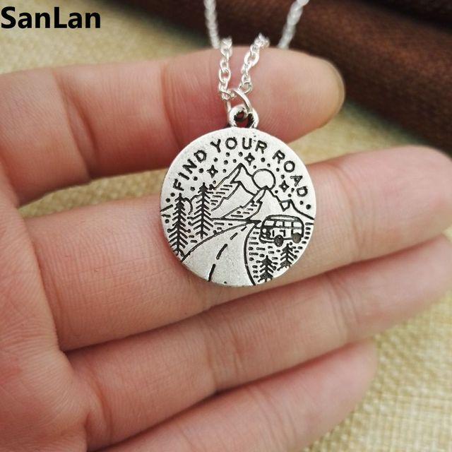 10pcs good quality antique silver plated find your road Necklace travel on the mountain Vintage Pendant & 10pcs good quality antique silver plated find your road Necklace ...