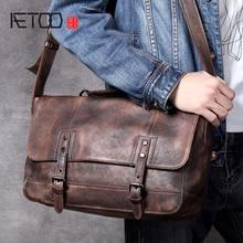 AETOO Retro make old head cowhide single shoulder bag casual