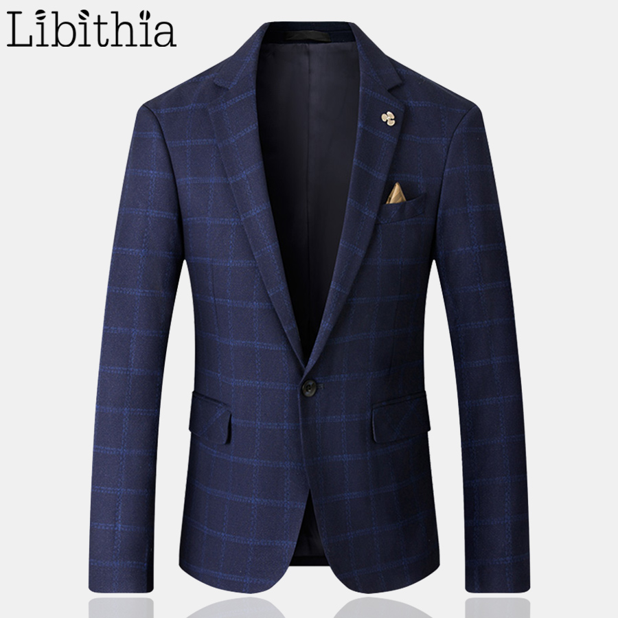 Men Casual Luxury Plaid Blazers High Quality Big Size M-5XL Slim Fit Jacket One Button Wedding Party Fashion Blue Grey Red F068