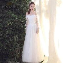 Vestido de novia sencillo de tul con cuello bote, largo hasta el suelo, sexy, manga larga