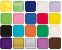 20 X 9 Square Paper Plates 23cm Plain Solid Colours Birthday Party Tableware 20pcs