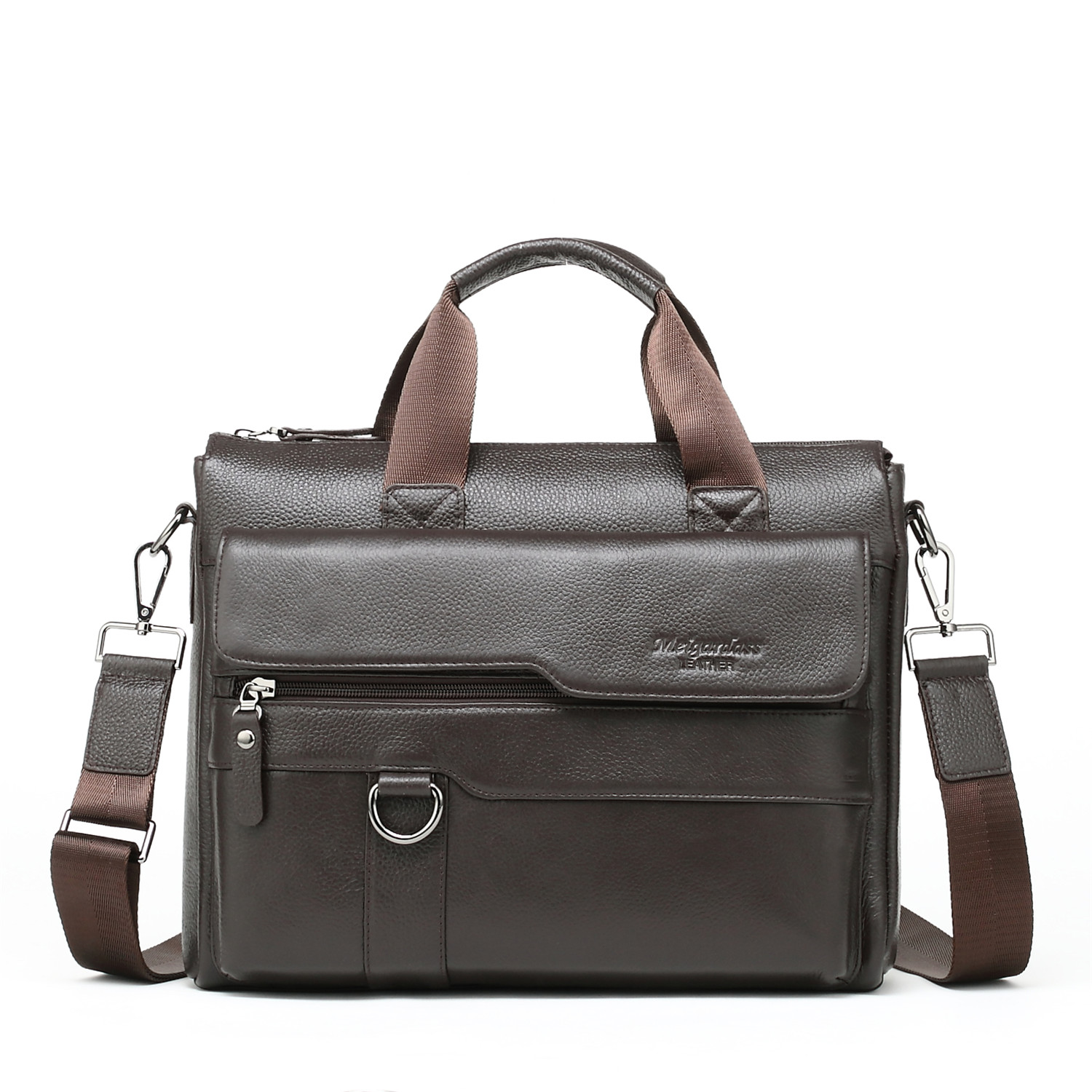 Norbinus Men Briefcases Genuine Leather Men's Bag Male Business Computer Laptop Document Crossbody Bags Messenger Bag Totes