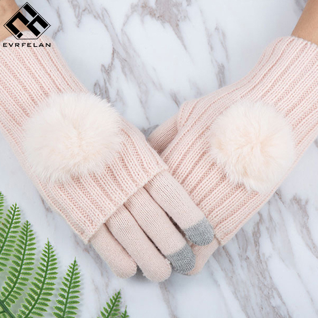 e66109fd1 Evrfelan Winter Warm Glove For Women Mittens Touch Screen Gloves Girl Gloves  Double Layer Separable Fingerless