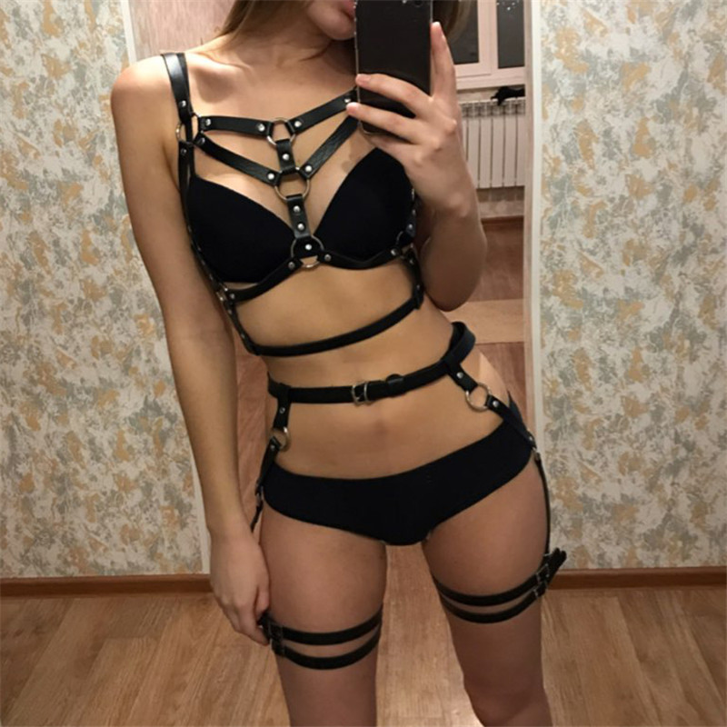 Leather Harness Underwear 2 Piece Set Garter Belts Sexy Women Waist To Leg Bondage Cage Straps Bra Garter Body Belts Lingerie(China)