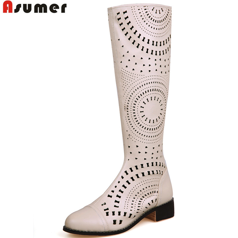 Asumer 2018 Handsome Cut out Knee High Boots High Quality Sexy Round Toe Platform Summer Shoes Square Heels Zipper Summer Boots