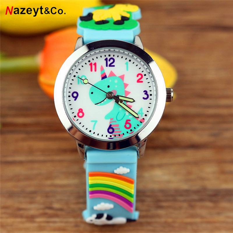 New Arrived Boys Dinosaur Dial Quartz Watch Children Simple Design Luminous Hands Silicone Wristwatch Best Gift For Kids Clock