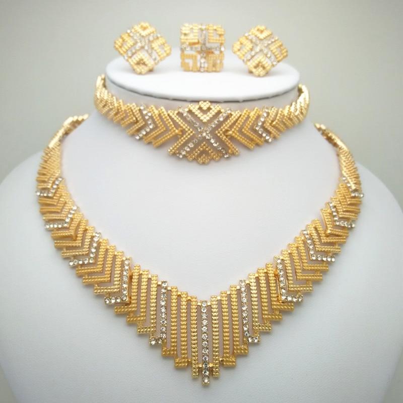 9a4b1c53064e Dubai oro conjuntos de joyas de collar pendientes anillo pulsera Nigeria  China las mujeres regalo de