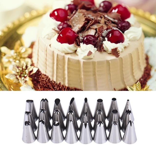 24pc Lot Stainless Steel Icing Piping Nozzles Pastry Decoration