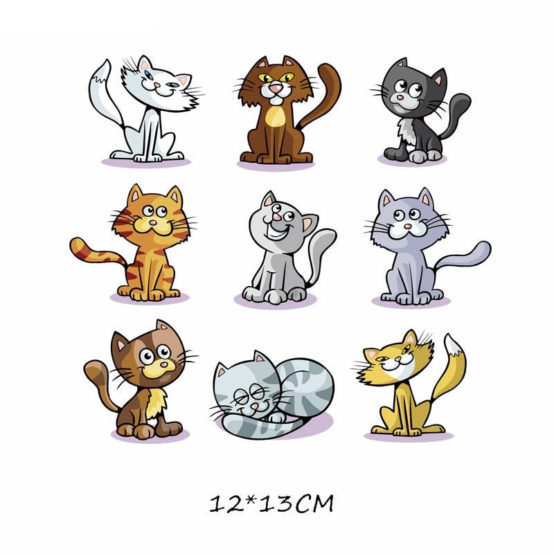 Набор патчей с изображением животных из мультфильмов, милые патчи с изображением единорога, кошки, совы, собаки, цветов для детей, одежда для девочек, футболка, сделай сам, термопресс - Цвет: 678