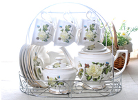 O envio gratuito de Reais 15 pcs jogo de café de cerâmica 1200 ml chaleira moda jogo de chá conjunto bule de café xícara de café subiu padrão com prateleira