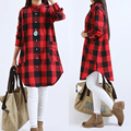 2016 Hot Spring Wild Casual Women Blouses Plaid Cotton Women Shirt Plus Size Women Clothing Mad Show Store Girl Long Shirts