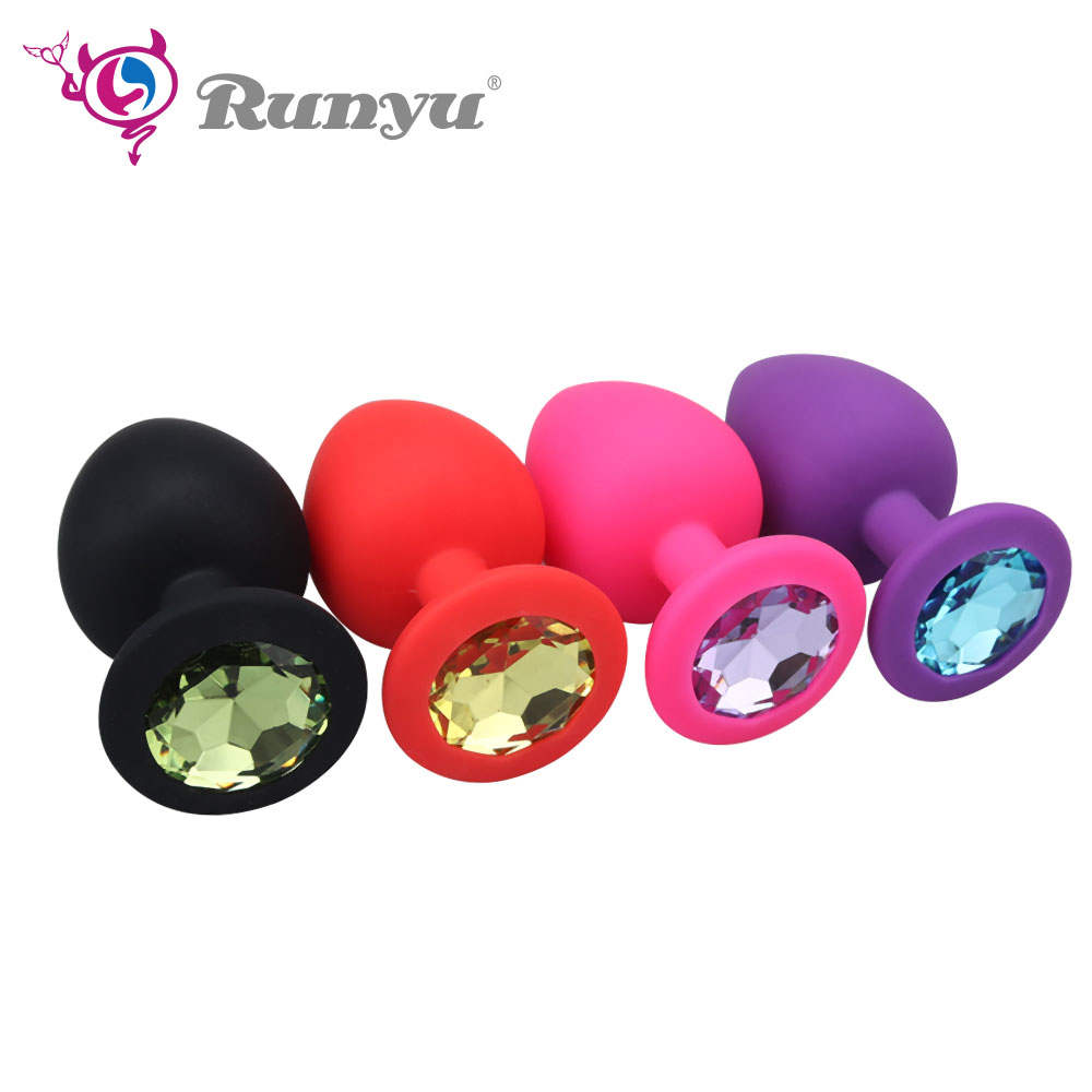 RunYu S/M/L Silicone Butt Plug With Crystal Jewelry Smooth Touch Anal Plug No Vibrator Anal Sex Toys For Woman & Men
