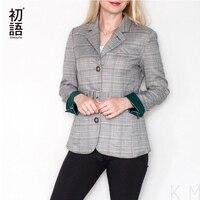 Toyouth Plaid Formal Wearwork Jacket Women British Style Chic Ladies Blazer Belted Office Button Vuntage Female Coat Tops