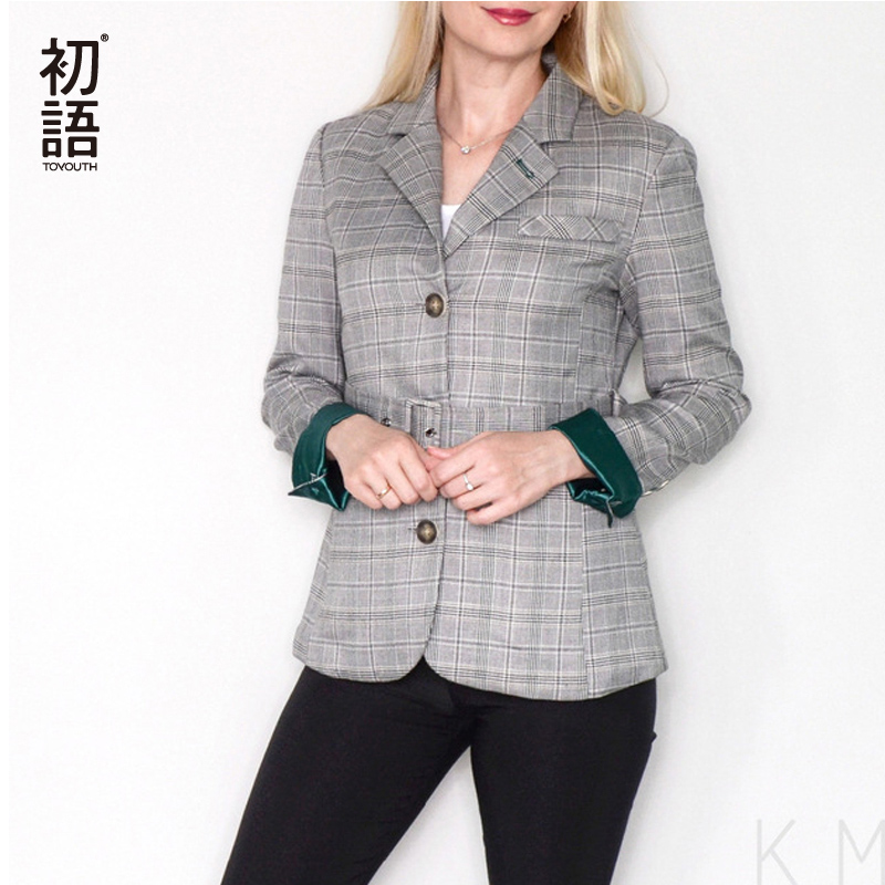 Toyouth Plaid formel wear veste femmes Style britannique Chic dames Blazer ceinturé bureau bouton Vuntage femme manteau hauts