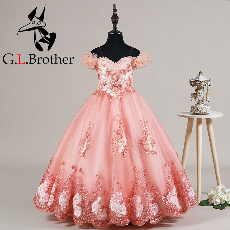 New Arrival Ball Gown Off The Shoulder Flower Girls Dresses Kids Dress For Birthday Party Princess Dresses Kids Girl Dress AA276 цена 2017
