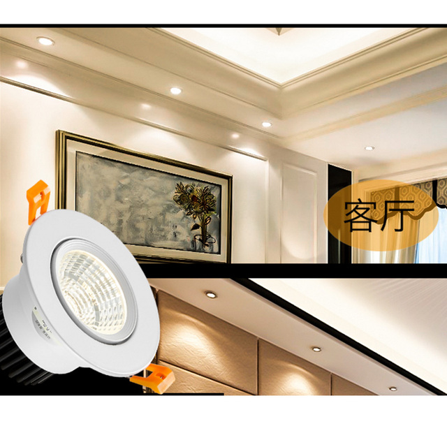 Blanco negro LED COB Spotlight lámpara de techo AC85-265V 3W 5W 7W 9W 12W 15W downlight empotrados de aluminio redondo led panel de luz 5
