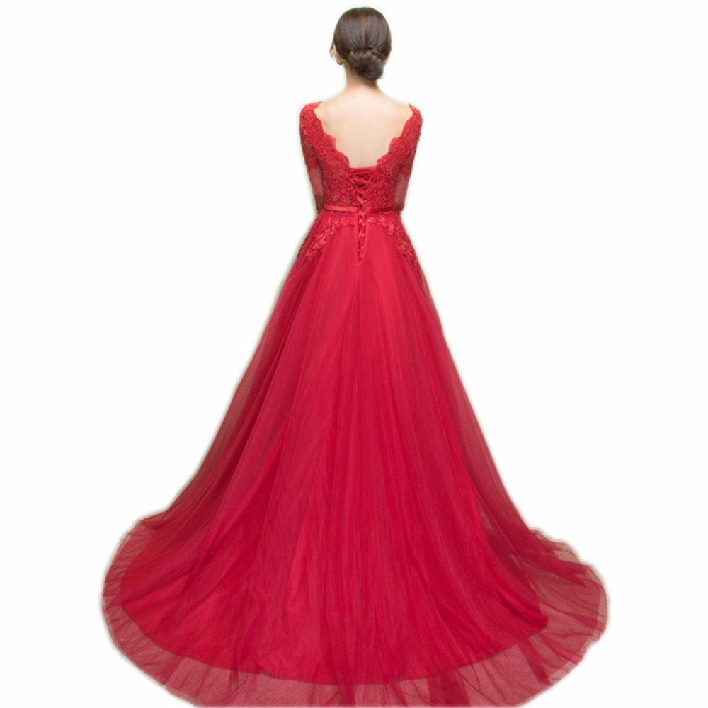 Image 2 - NOBLE WEISS Dark Red Appliques Tulle Long Evening Dresses 2019 