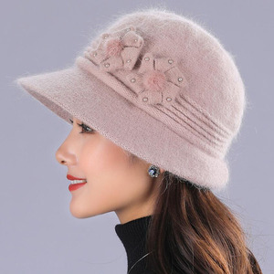 Image 2 - BING YUAN HAO XUAN Ontwerp Dubbele Laag Winter Hoeden voor Vrouwen Konijnenbont Hoed Warme Gebreide Muts en Sjaal Grote bloem Cap