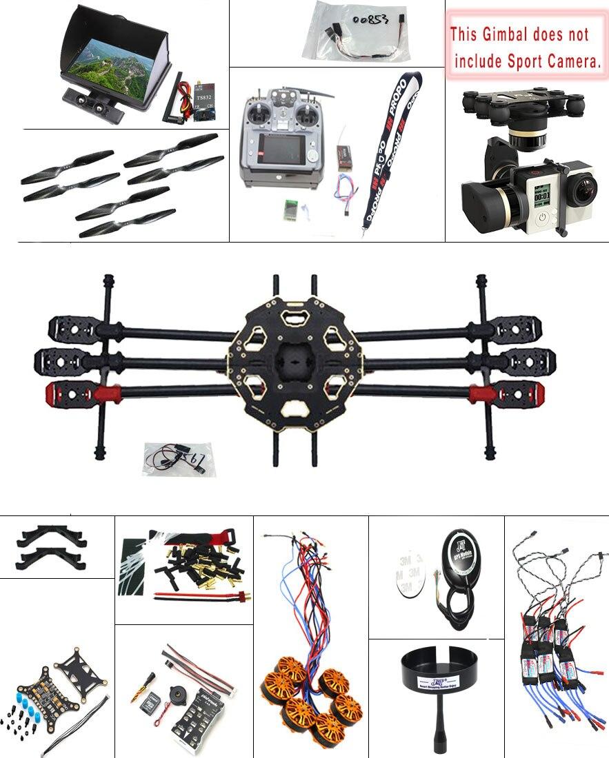 JMT DIY 2.4G 10CH PX4 GPS 5.8G FPV 680PRO RC Hexacopter Unassembled Full Kit ARF No Battery RC Drone MINI3D Pro Gimbal